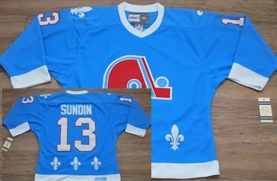 Quebec Nordiques #13 Mats Sundin Light Blue Throwback CCM Jersey