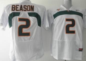Miami Hurricanes #2 Jon Beason White Jersey