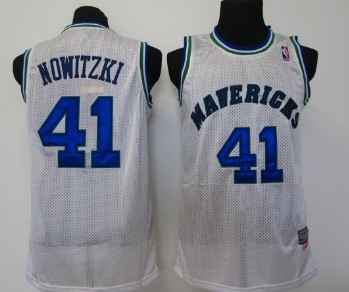 new styles 3c358 6b9cb Dallas Mavericks #41 Dirk Nowitzki White Swingman Throwback ...