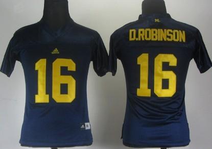 Michigan Wolverines #16 Denard Robinson Navy Blue Womens Jersey