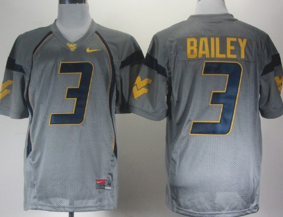 West Virginia Mountaineers #3 Stedman Bailey Gray Jersey