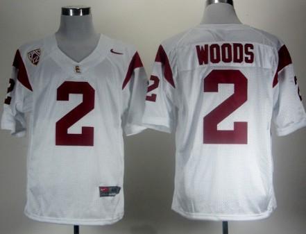 USC Trojans #2 Robert Woods White Pac-12 Patch Jersey