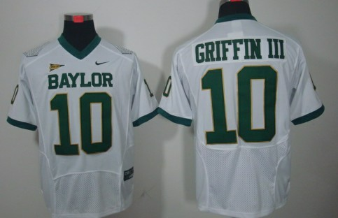 Baylor Bears #10 Robert Griffin III White Jersey