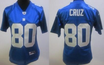 New York Giants #80 Victor Cruz Blue Womens Jersey