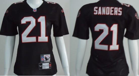 Atlanta Falcons #21 Deion Sanders Black Throwback Womens Jersey
