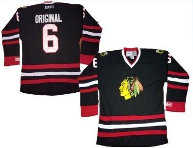 Chicago Blackhawks  6 Parkhurst Original Black Throwback CCM Jersey ... 7feaf48be