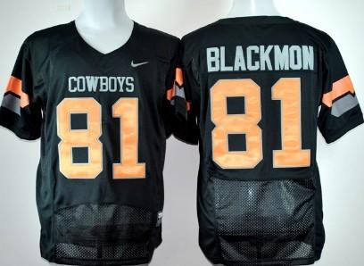 Oklahoma State Cowboys #81 Justin Blackmon Black Pro Combat Jersey
