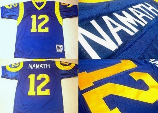 St. Louis Rams #12 Joe Namath Light Blue Throwback Jersey