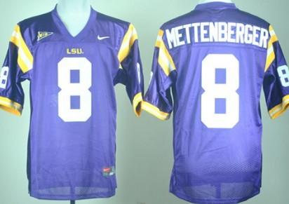 LSU Tigers #8 Zach Mettenberger Purple Jersey