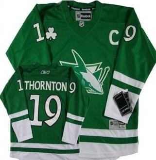 new style 4c11d e41e0 San Jose Sharks #19 Joe Thornton St. Patrick's Day Green ...