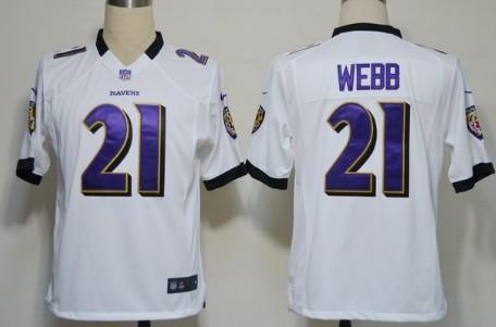 Nike Baltimore Ravens #21 Lardarius Webb White Game Jersey
