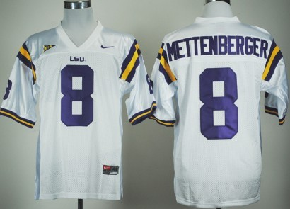 LSU Tigers #8 Zach Mettenberger White Jersey