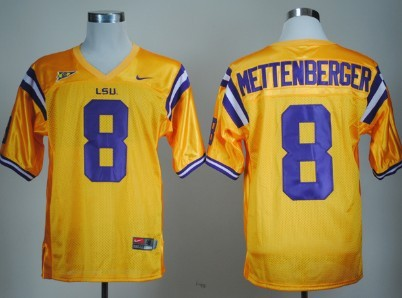 LSU Tigers #8 Zach Mettenberger Yellow Jersey