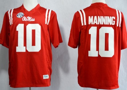 Ole Miss Rebels #10 Eli Manning 2013 Red Jersey