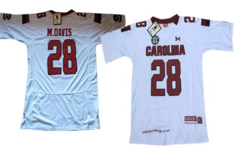 South Carolina Gamecocks #28 Mike Davis 2013 White Jersey