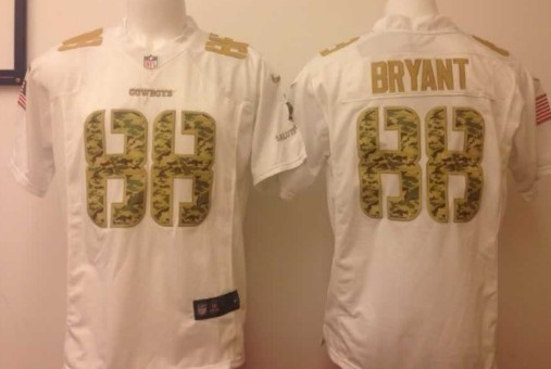 half off bf292 7908e Nike Dallas Cowboys #88 Dez Bryant Salute to Service White ...