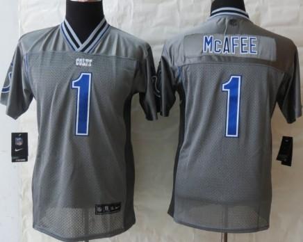 Nike Indianapolis Colts #1 Pat McAfee 2013 Gray Vapor Kids Jersey