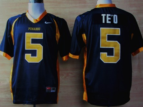 Punahou High School #5 Manti Te'o Navy Blue Jersey
