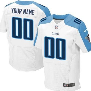 Men's Nike Tennessee Titans Customized White Elite Jersey