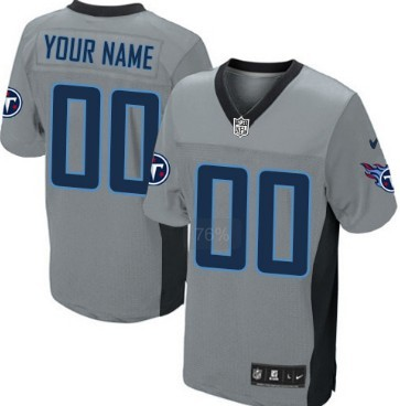 Men's Nike Tennessee Titans Customized Gray Shadow Elite Jersey