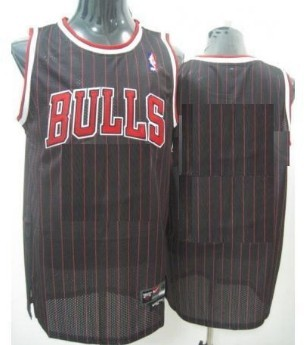 Mens Chicago Bulls Customized Black Pinstripe Jersey