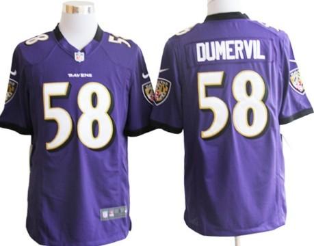 Nike Baltimore Ravens #58 Elvis Dumervil Purple Game Jersey