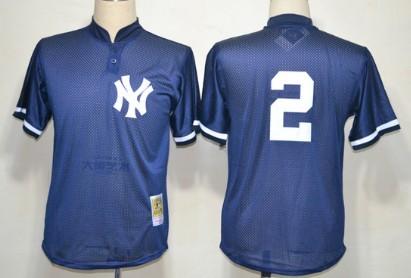 meet 4d8ef 66e64 New York Yankees #2 Derek Jeter 1995 Mesh BP Navy Blue ...