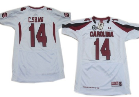South Carolina Gamecocks #14 Connor Shaw White Jersey