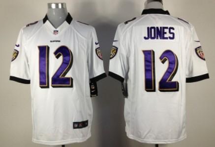 Nike Baltimore Ravens #12 Jacoby Jones White Game Jersey