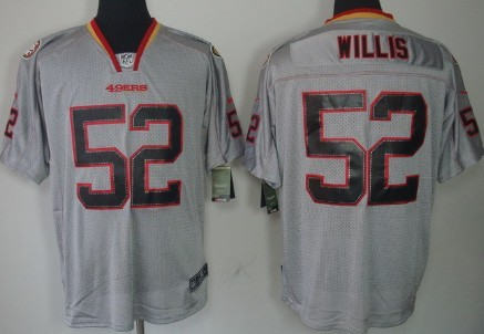 nike san francisco 49ers 52 patrick willis lights out gray elite jersey
