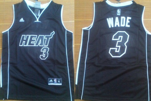 buy popular 45b88 c51f0 Miami Heat #3 Dwyane Wade All Black With Heat Kids Jersey on ...