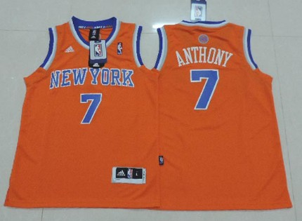 New York Knicks #7 Carmelo Anthony Orange Kids Jersey