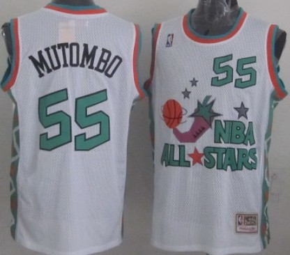 NBA 1996 All-Star #55 Dikembe Mutombo White Swingman Throwback Jersey