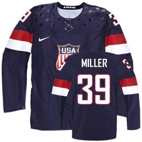 2014 Olympics USA #39 Ryan Miller Navy Blue Jersey