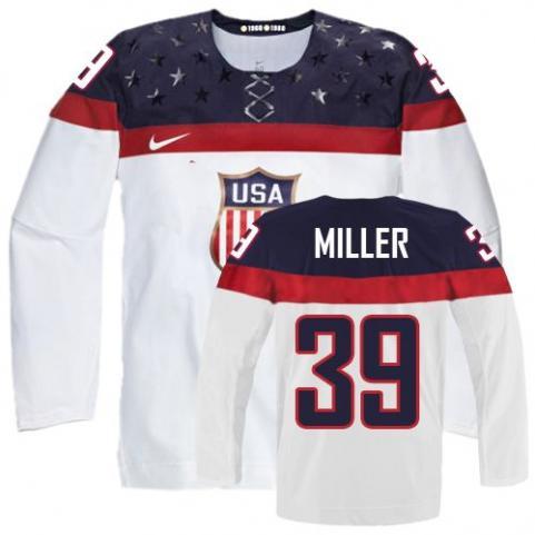 2014 Olympics USA #39 Ryan Miller White Jersey