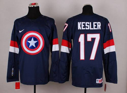 2015 Men's Team USA #17 Ryan Kesler Captain America Fashion Navy Blue Jersey