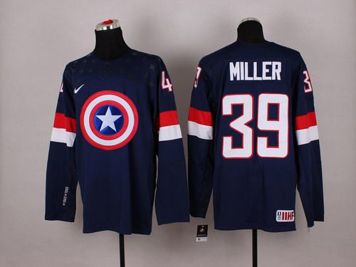 2015 Men's Team USA #39 Ryan Miller Captain America Fashion Navy Blue Jersey