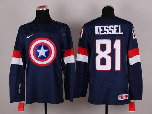 2015 Men's Team USA #81 Phil Kessel Captain America Fashion Navy Blue Jersey