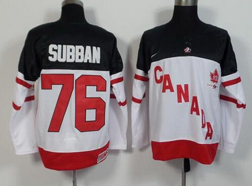 2014-15 Men's Team Canada #76 P.K. Subban White 100TH Anniversary Jersey