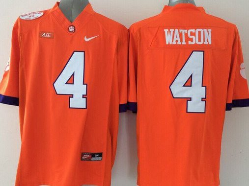 Men's Clemson Tigers #4 Deshaun Watson Orange 2015 NCAA Football Nike Jersey