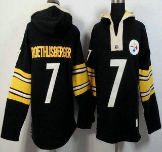 Men's Pittsburgh Steelers #7 Ben Roethlisberger Black Team Color 2015 NFL Hoody