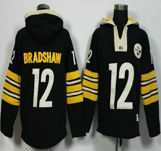 Men's Pittsburgh Steelers #12 Terry Bradshaw Black Retired Player 2015 NFL Hoodie