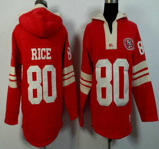 Men's San Francisco 49ers #80 Jerry Rice Red Team Color Team Color 2015 NFL Hoody
