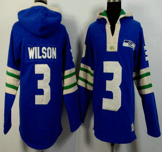 Men's Seattle Seahawks #3 Russell Wilson Light Blue 2015 NFL Hoody