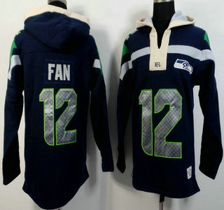 Men's Seattle Seahawks #12 Fan Navy Blue Team Color 2015 NFL Hoody