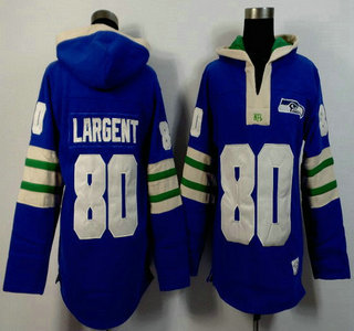 Men's Seattle Seahawks #80 Steve Largent Light Blue 2015 NFL Hoody
