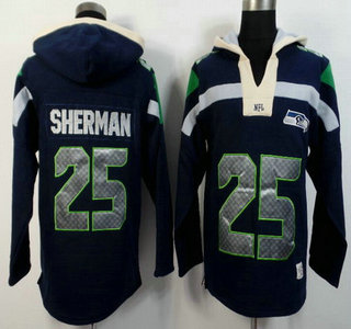 Nike Seattle Seahawks #25 Richard Sherman Navy Blue Team Color 2015 NFL Hoody
