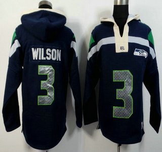 Men's Seattle Seahawks #3 Russell Wilson Navy Blue Team Color 2015 NFL Hoody