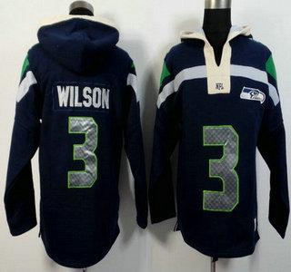 Men's Seattle Seahawks #3 Russell Wilson Navy Blue Team Color 2015 NFL Hoody