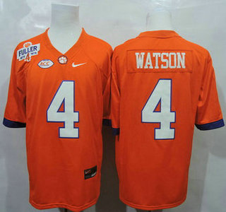 Clemson Tigers #4 Deshaun Watson Orange College Football Jersey With Steve Fuller Patch